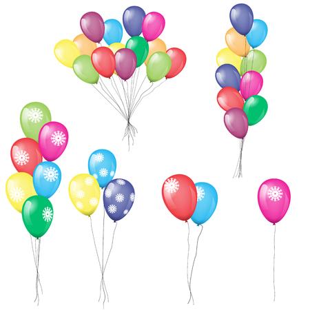 Colorful helium balloons vector illustration. Çizim