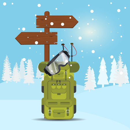 Winter background with skier backpack, goggles and wooden arrows. Illustrated vector.
