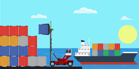 Crane lifting up container in yard. Flat and solid color design vector. Illustration
