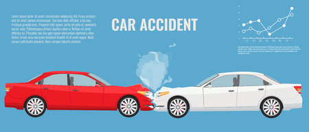 accidental: Car accident concept illustration. Flat and solid color vector infographic template.