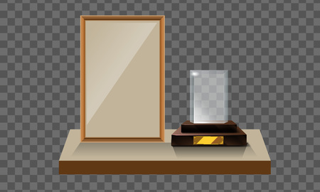 3d Vector glass ptrophy with base and blank frame for copyspace front view. Vector