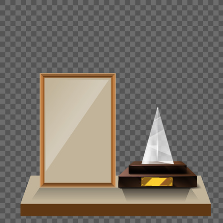 3d Vector glass pyramid trophy with base and blank frame for copyspace front view isolated on white background. Vector illustration