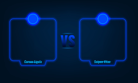 Versus or compare screen with blue neon frames and vs letters. Stock vector illustration Ilustração