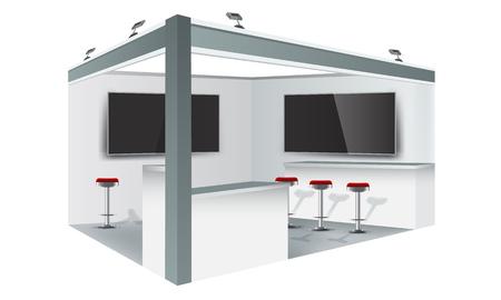 전시 스탠드 디스플레이 무역 부스 모형 디자인, 흰색 및 회색 색상. 그림 된 벡터입니다.