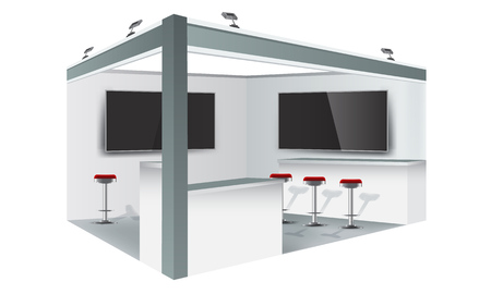 Exhibition stand display trade booth mockup design, white and grey colors. Illustrated vector.