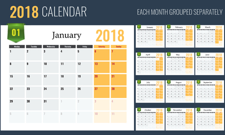 2018 Calendar template, planner, 12 pages. Easy to edit, each month grouped separately. Illustrated vector Ilustracja