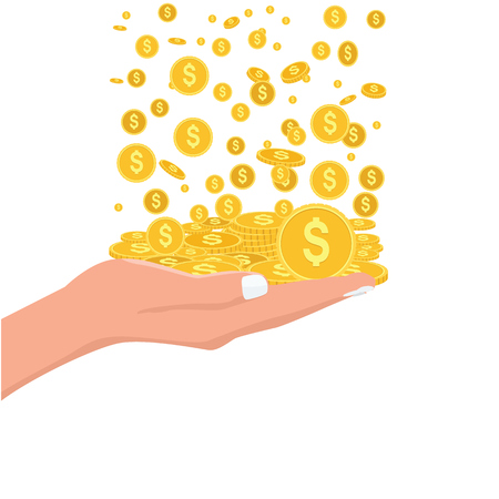 Money rain falling down into hand. Flat and solid color style. Illustration