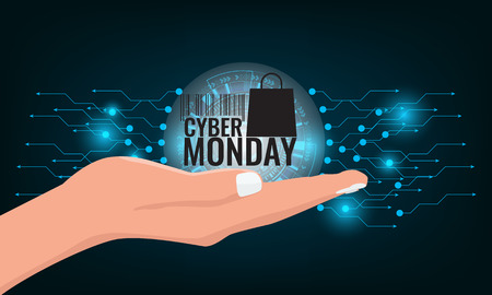 Cyber Monday Sale concept wiht technology background banner. Illustration