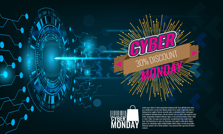 Cyber Monday Sale concept wiht technology background banner. Stock Photo