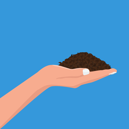 Human hand holding soil. Flat and solid color style design vector.