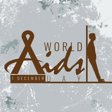 Stop Aids teken symbool met lint en man silhouet mager op regel met grunge-stijl.