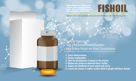 Cute Fish oil ads layout design template with chemical background. Illustrated vector.
