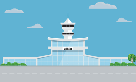 Airport building tower with flat and solid color design. Ilustração