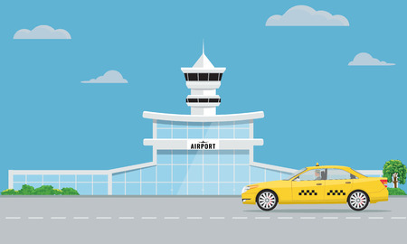 Airport terminal building and yellow taxi urban background flat and solid color design.