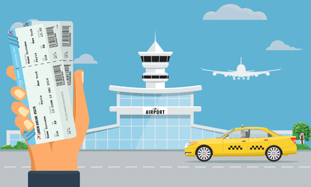 Airport terminal building and yellow taxi. Hand holding two air tickets. Urban background flat and solid color design.
