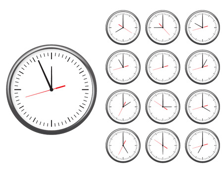 Wall office clock icon set. showing every hours. Illustration