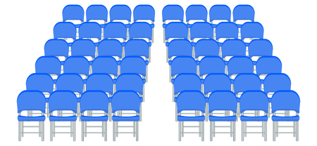 Group of blue plastic chairs with flat and solid color design. Stock Illustratie