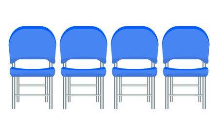 Group of blue plastic chairs with flat and solid color design.