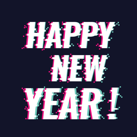 Happy New Year text with new trendy glitch style, vector illustration.  イラスト・ベクター素材
