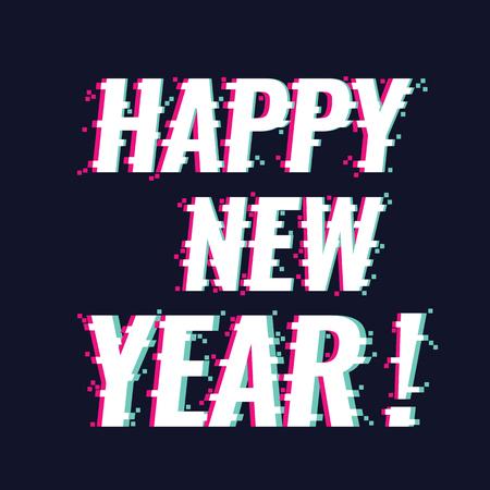 Happy New Year text with new trendy glitch style, vector illustration. Illusztráció