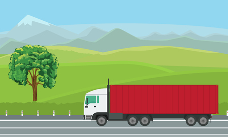 Delivery truck passing by beautiful landscape on the road, vector illustration.