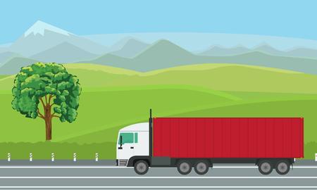 Camion di consegna che passa da bello paesaggio sulla strada, illustrazione di vettore.