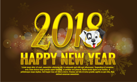 Vector Happy New Year 2018 - New Year background with happy dog character. Illustrated vector.