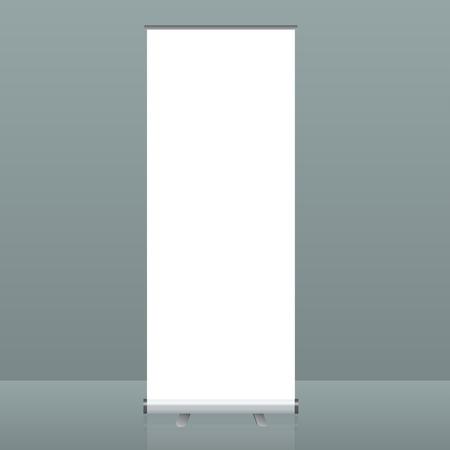 Vector Roll-up banner staan. Lege sjablonen voor het weergeven van de show display voor presentatie of tentoonstelling van uw product. Stock Illustratie