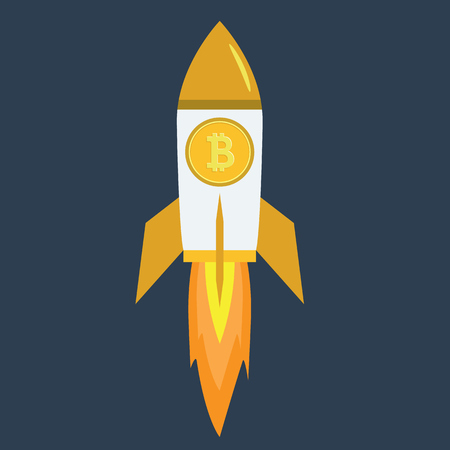 Bitcoin Rocket ship flying with success. Developement concept.