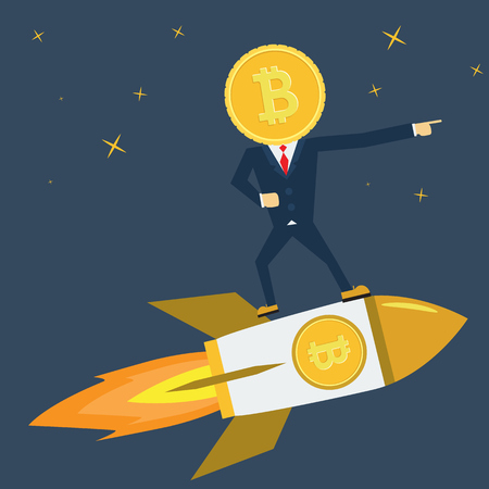 Leader Bitcoin character is on Rocket ship flying with success. Developement concept.