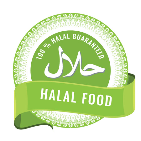 Halal sign symbol design. Halal certificate tag with geometric ornament circle design and shiny red ribbon.