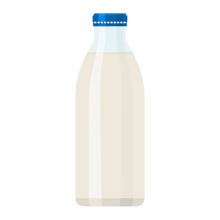 Bottle of milk with solid and flat color style design. Illustrated vector.