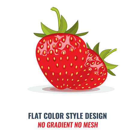 High-detailed Red organic strawberry with solid and flat color style design. Illustrated vector.