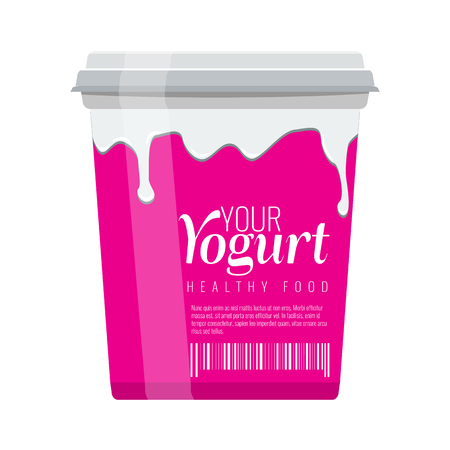 Pink plastic bucket with white lid. Yogurt package design with milk flow illustration. Flat and solid color design. Vector illustration.