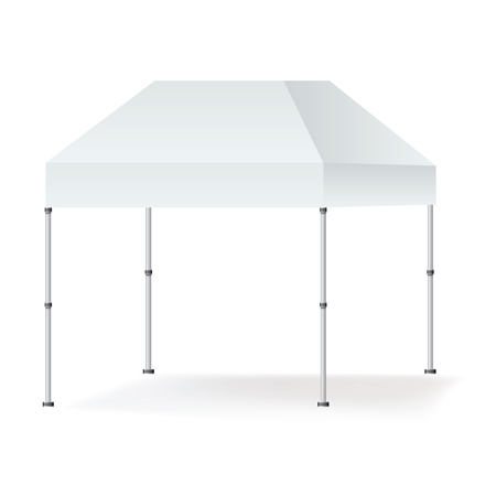 Vector Blank outdoor marquee tent booth mock up isolated on white background.