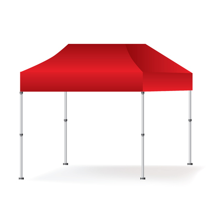 Vector Blank outdoor red marquee tent booth mock up isolated on white background.