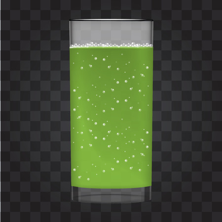 Green juice with smoothie glass and sparkling bubbles. Fruit organic drink. Transparent photo realistic vector illustration.