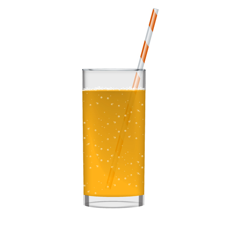 Orange juice with smoothie glass and sparkling bubbles. Fruit organic drink transparent photo realistic illustration.