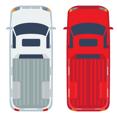 Pickup top view with flat and solid color design. Commercial vehicle illustration for distribution logistic concepts and infographics. Illustrated vector.