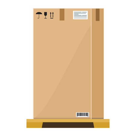Empty high Cardboard box on wooden pallet with flat and solid color style design. Illustrated vector. Ilustração