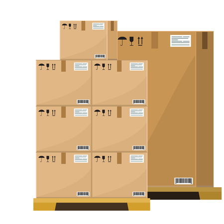 Different Boxes on wooded pallet vector illustration, flat and solid style warehouse cardboard parcel boxes stack front view. Illustrated vector.