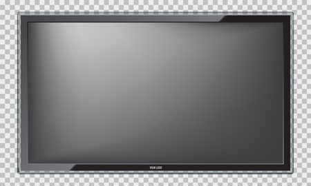 Modern Led TV screen with realistic reflection. Isolated Illustrated vector.