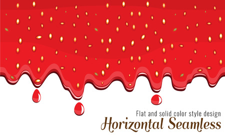 Realistic drips of strawberry jam with flat and solid color design on white background. Flowing syrup. Illustration vector. Illustration