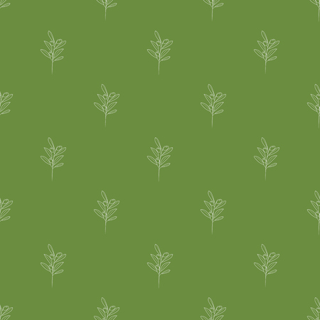 Olive branches seamless with trendy line style art pattern Vector illustration.