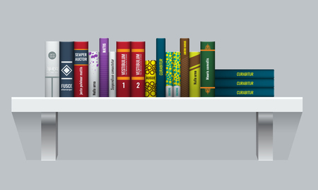 Vector Book shelf with realistic books stalks. Back side view.