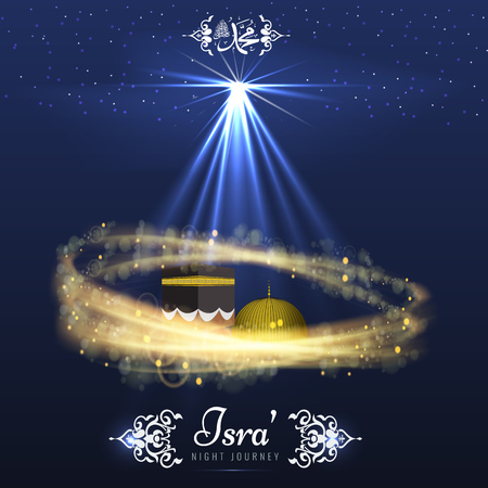 Isra and Miraj holy nights in Islamic religion. Vector Background
