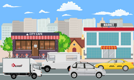 City landscape with market and cafe building and cars are passing by street. Illustrated vector. Illustration