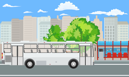 Empty Bus Stop and Bus with City Skyline Flat Design Style. Vector illustration. Иллюстрация