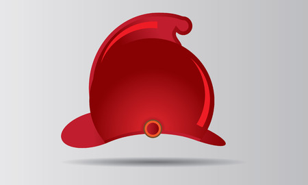 Red firefighter helmet vector illustration badge or emblem.