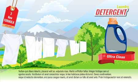 Laundry detergent ads template with package design with water splash effect, white clothes and nice bokeh. Vector design elements.